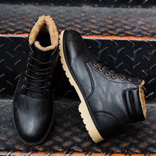 2018 New Arrival Winter Boots Men Pu Leather Lace-Up Fashion Black Men Ankle Boots Warm Winter shoes men Martin Boot 11.11
