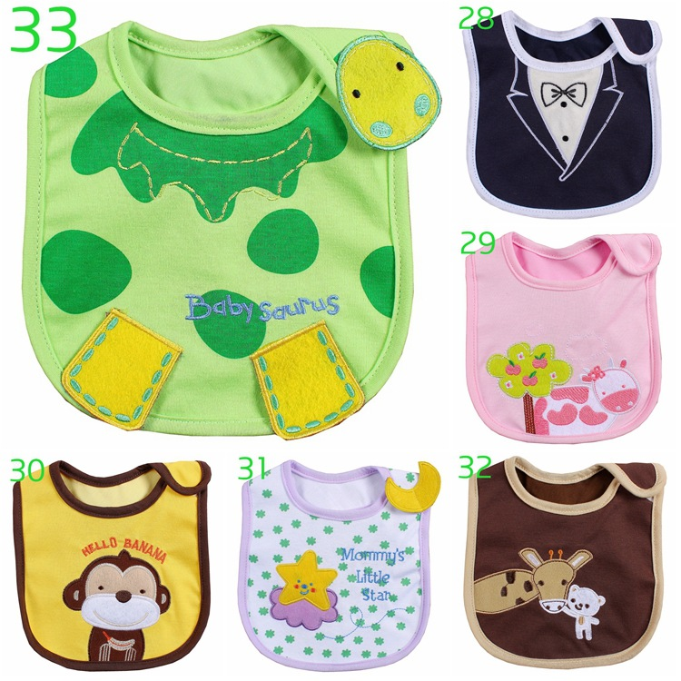 0-3 år gammal 40 lägen Infant Burp Cloths Feeding Baby Bibs Cute Cartoon Pattern Småbarn Vattentät Saliva Handduk Bomull Fit