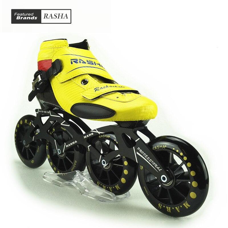 Prix pour RASHA SKATE inline chaussures de patinage de vitesse vitesse patins jaune carbone patin à roulettes en ligne boot 110mm roues patins rouleau 4 rodas