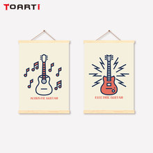 Acoustic Guitar Scroll Canvas Painting Modern Music Hanger Wall Art Decorative Pictures For Living Room Bedroom