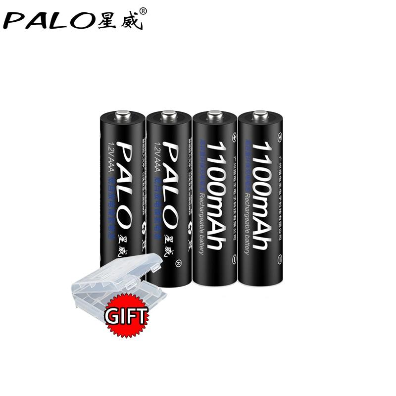 PALO 100% d'origine 4 pcs/lot 1.2 V AAA 1100 mAh Ni-Mh Rechargeable Batterie avec 1800 Cycle rechargeable batteries pour Microphone