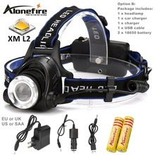 AloneFire HP79 CREE XM-L2 LED 3800LM Aluminum Rechargeable Zoom Headlight Headlamp cree + 2×18650 Battery+AC Charger+Car charger