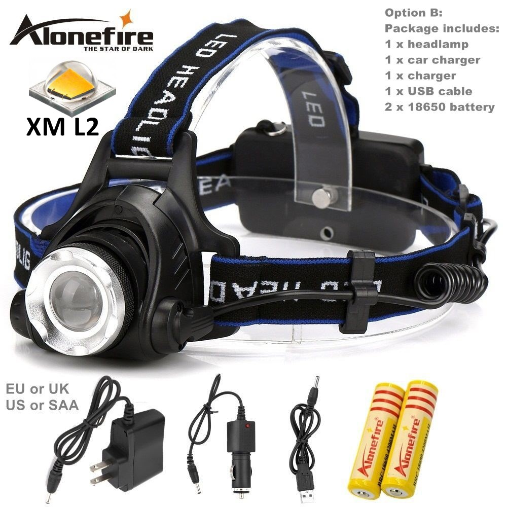 AloneFire HP79 CREE XM-L2 LED 3800LM Aluminum Rechargeable Zoom Headlight Headlamp cree + 2x18650 Battery+AC Charger+Car charger