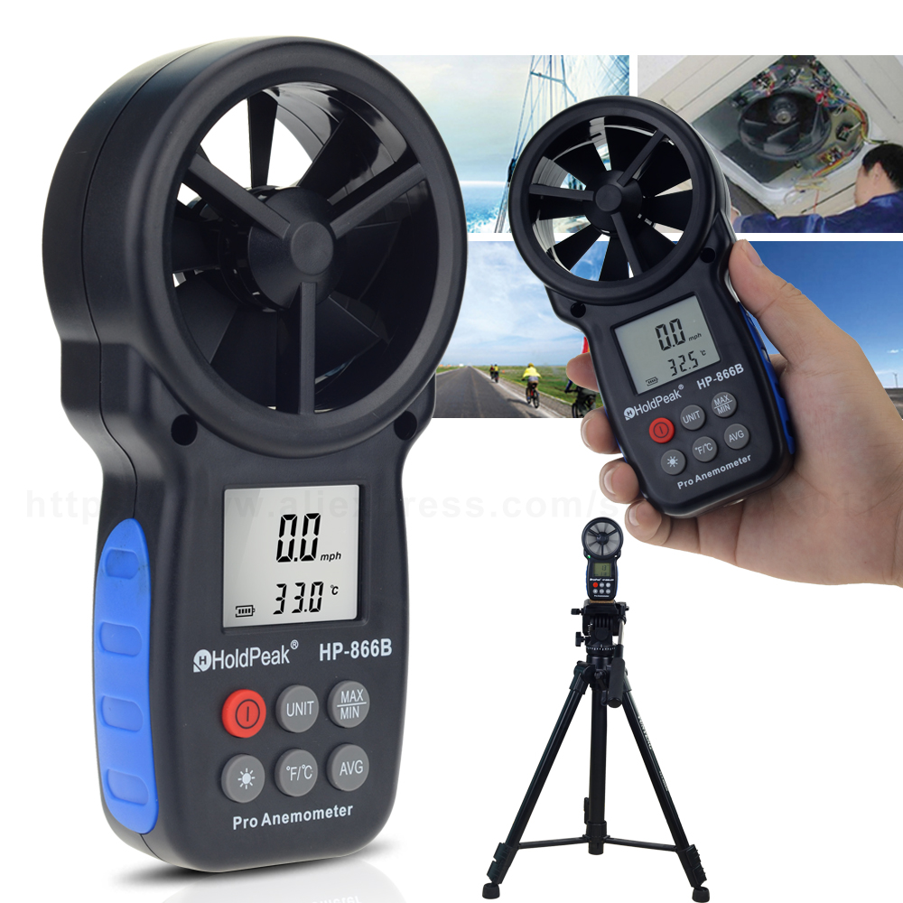 Instrumentos de medición de velocidad de anemómetro digital multifunción portátil de envío gratuito 0.3 ~ 30 m / s Velocidad del viento Herramientas de temperatura del viento