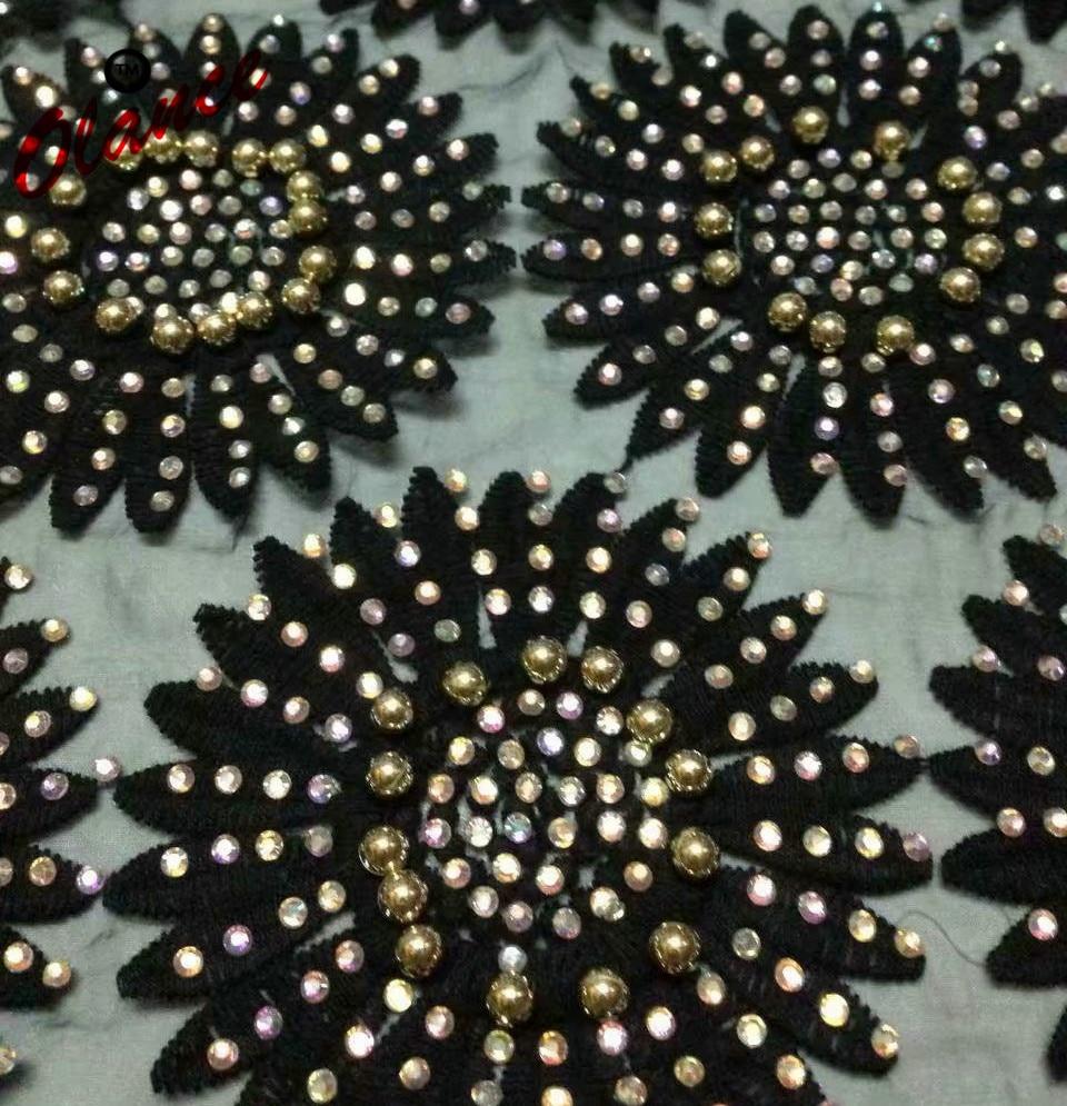Merveilleux design offre spéciale strass de soleil et perles d'or ADP30 livraison gratuite pas cher prix lourd robe Tulle dentelle tissu-in Dentelle from Maison & Animalerie    1