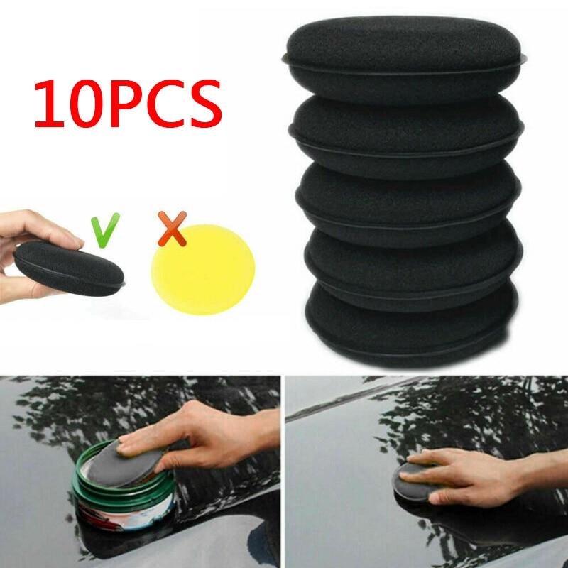 10Pcs Polishing Waxing Sponges Microfiber Soft Black 12.5cm High Quality For Car Auto Care Wax Washing Sponges Accessories