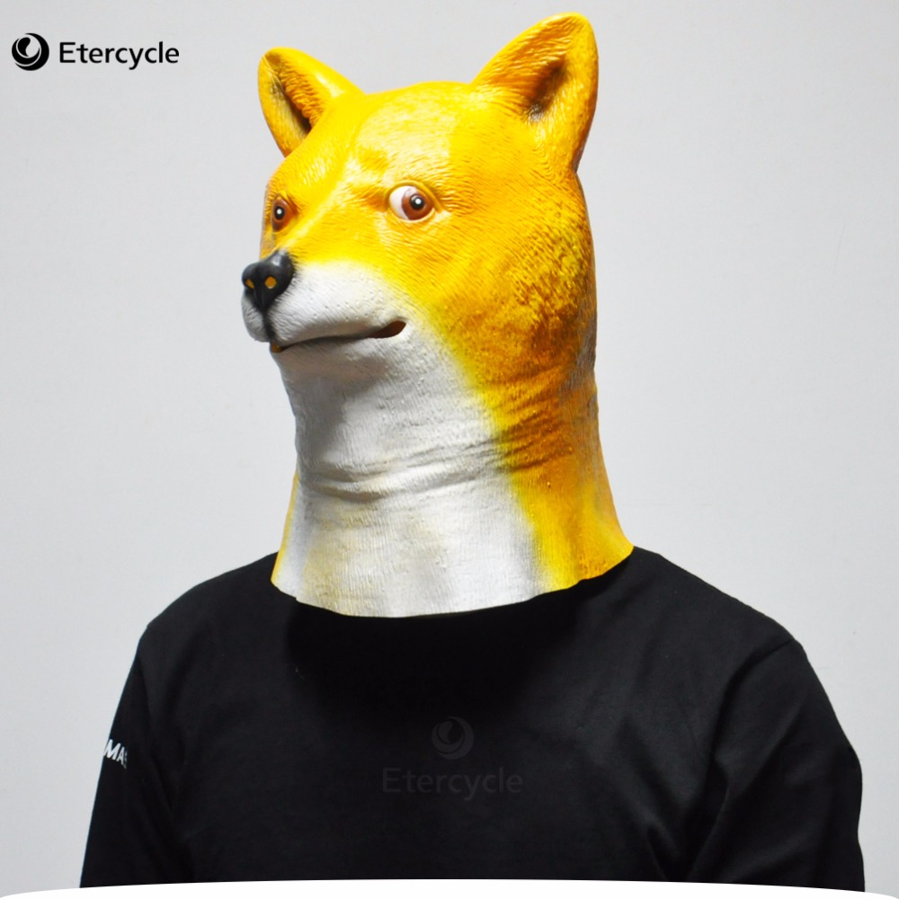 Shiba inu Dog Máscaras Halloween Adulto Máscara De Látex Animal Cosplay Adereços Partido Fancy Dress