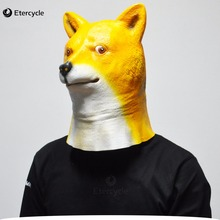 Halloween Animal Dog Head Mask, Shiba inu Latex Mask Party Costume Prop