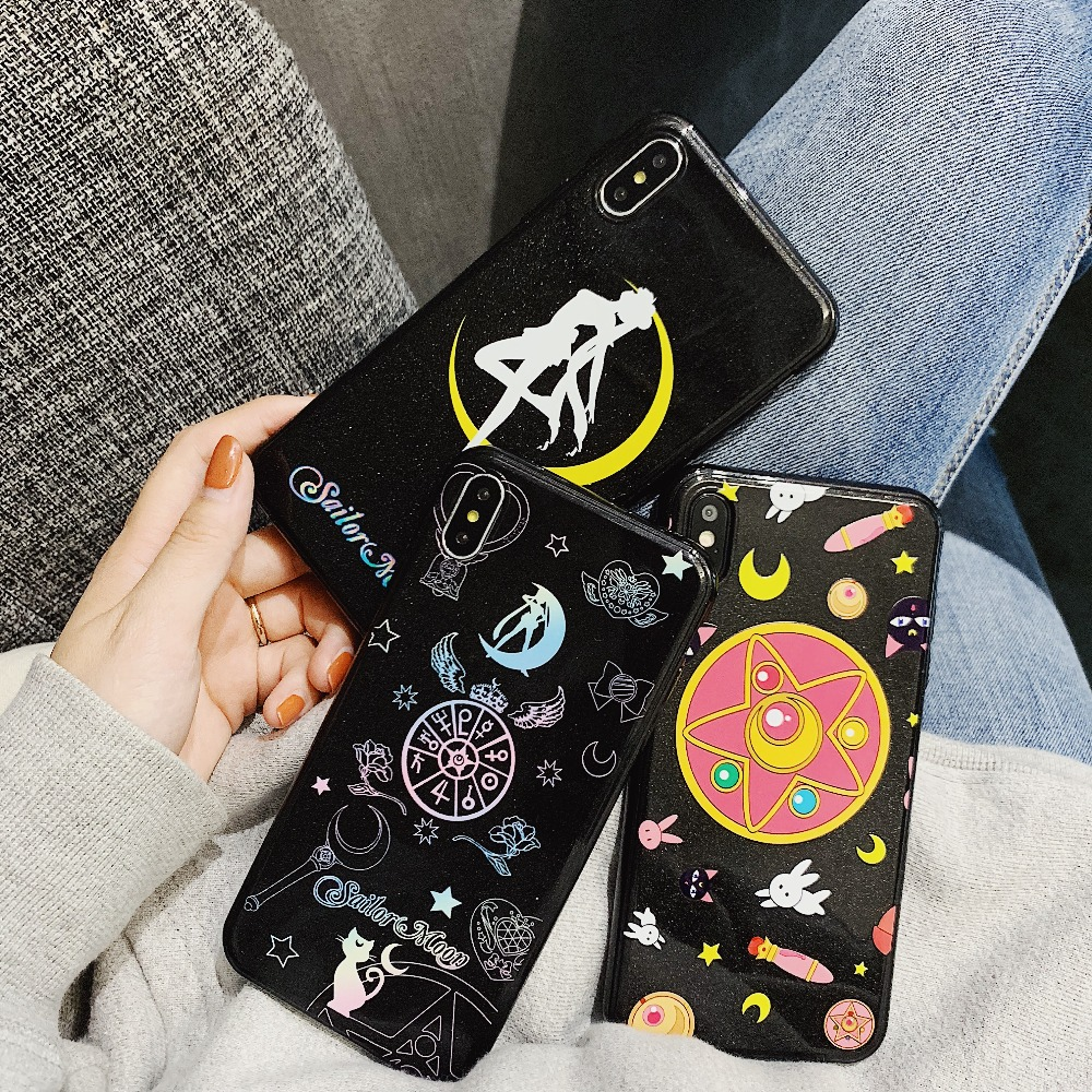 Fitted Cases Cute Cartoon Sailor Moon Pattern Soft Phone Case For Iphone X Xr Xs Max Cases For Iphone X 6 6s 7 8 Plus Silicone Back Cover