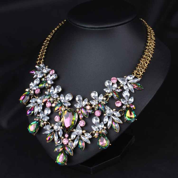 Elegant Luxury Women Chunky Chain Colorful Crystal Flower Bib Statement Necklace Choker Floral Jewelry
