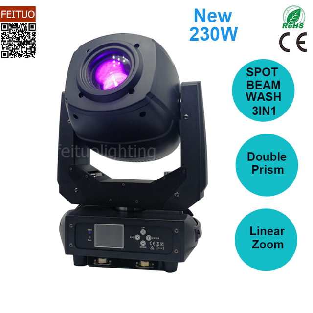 New Arrival Double Prism 230w Beam Spot Wash 3in1 DMX Led Moving Head Stage Light Linear Zoom Led Lights Rotating Gobos DJ Light