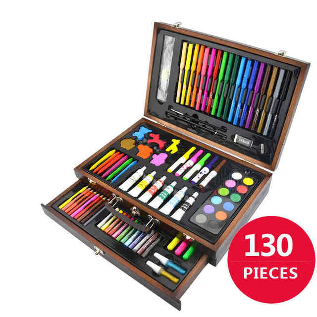 130 piecs drawing pencils color pens crayons case art painting set for children kids with wooden. Black Bedroom Furniture Sets. Home Design Ideas