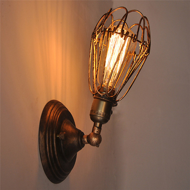 Vintage American Loft Industrial Wall Lamps Vintage Bedside Wall Light Metal 10cm Lampshade E27 Edison Bulbs LED Wall Lamp