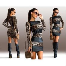 hot deal buy european style leopard patchwork sheath woman dresses spring autumn slim fashion leopard body con female mini dresses 90s
