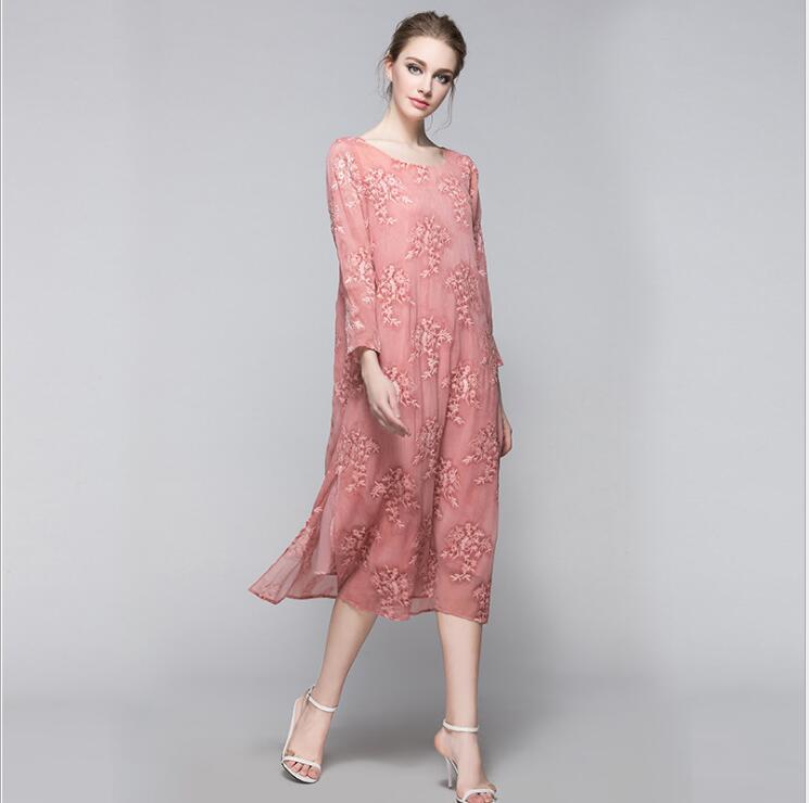 Sexy Dentelle Robes Femmes Rose En D'été Britannique De 2017 Robe Style Vintage Broderie Vêtements Filles Club FvEq0nnw5z
