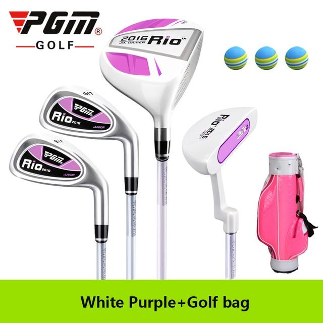 PGM Golf Rio Gril Cue Kit Junior Children Complete Set 4Clubs Lever Boy Beginner Putter Wood irons Standard Package Graphite