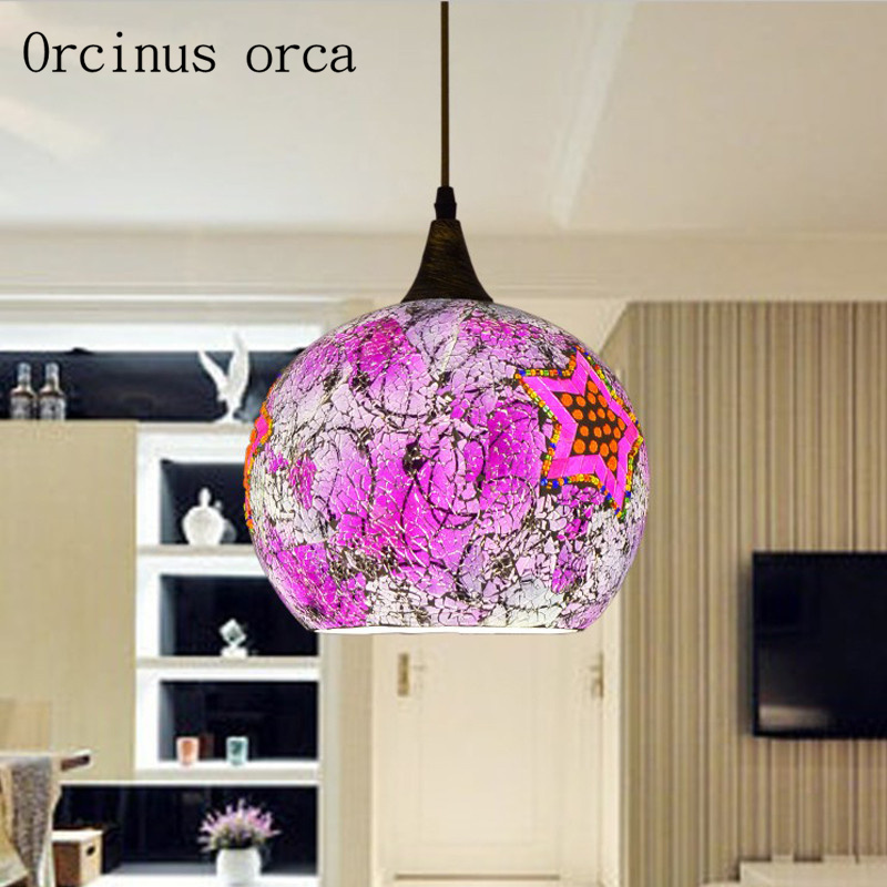 Bohemia Pink Glass Chandelier Balcony Corridor Restaurant Bar Mediterranean Creative Personality Single Head Painted Chandelier