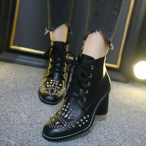 2016 New design women winter cool rivet punk boots square heels fashion top quality lace up women boots Motorcycle Botas Mujer free shipping top fashion new mujer botas 2016 winter women boots 100