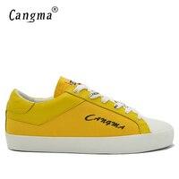 CANGMA Mens di Marca Delicato Fashion Canvas Sneakers Scarpe Giallo Traspirante Uomo Fatti A Mano Retrò Scarpe Big Size Flats Scarpe Maschili