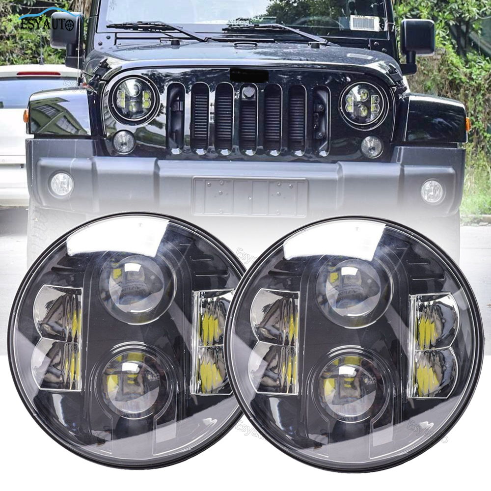 "H4 LED Light Bulb 6000K White 7/"" Headlight Hi//Lo beam 2pcs For 16 Jeep Wrangler"