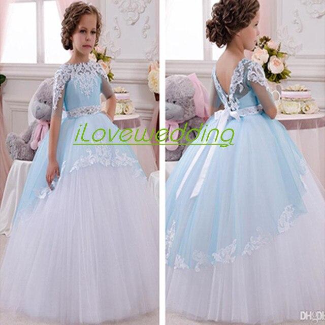 Princesa Barbie Bolos Vestidos Da Menina de Flor Para Casamentos vestido de Baile Meia Manga Apliques de Tule 2016 Crianças Baratos Pageant Vestido de Festa