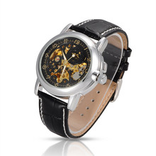 Orkina Brand Skeleton Mechanical Watches Men Business WristWatch Black Antique Men Watch Relojes De Marca Montre