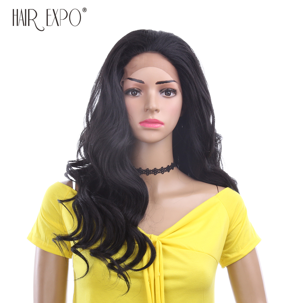 24inch Long Body Wave Synthetic Lace Front Wig African American Black Wig Lace Front  Hair Expo City