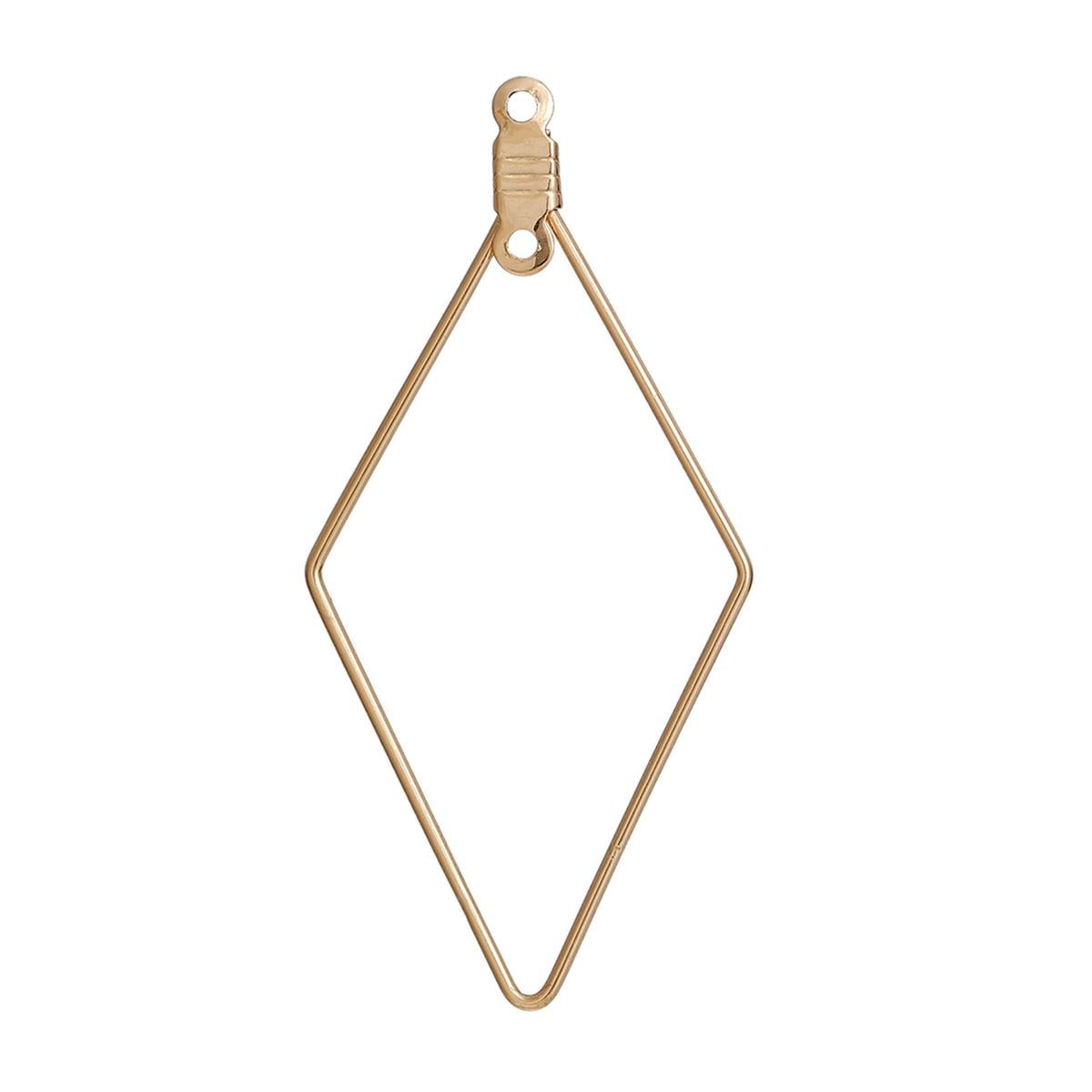 Doreen Box Copper Earring Components Pendants Geometric Rhombus Gold color 46mm(1 6/8) x 22mm( 7/8),10 PCs 2017 new