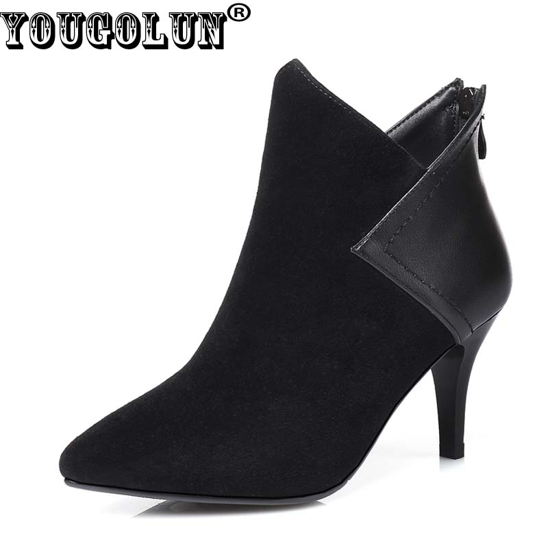 YOUGOLUN Women Ankle Boots Autumn Sheepskin Suede Cow Leather Black High Heels 7.5 cm Pointed toe Thin Heel Shoes #Y-164 women black shoes sheepskin genuine leather women shoes suede pointed toe rivet solid color buckle ladies causal ankle boots