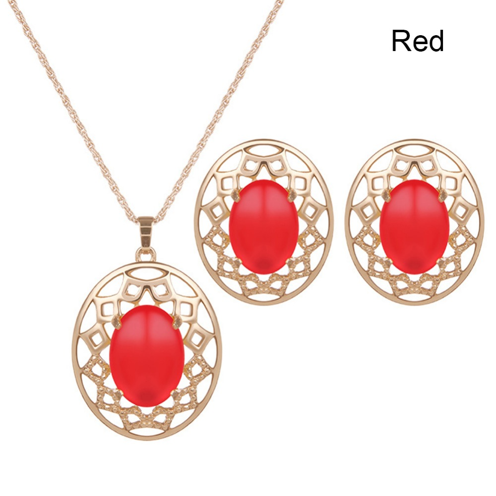 Fashion Jewellery Green Red Yellow Jewelry Sets Women Opal Pendant Necklace Earrings For Party #231105