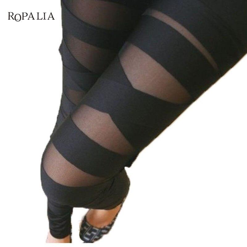 Fashion   Leggings   Mesh Womens Leggins Sexy Halloween Gothic   Legging   Slim Black Punk Rock Elastic Bandage Femme Pants
