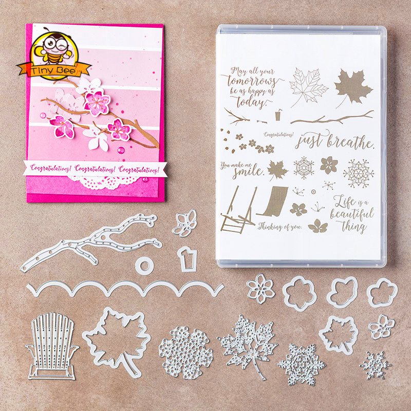 New Des For 2019 Flower Tree Die Clear Stamp And Dies For Scrapbooking CardAlbum Making Metal Cutting Dies And Stamps Set