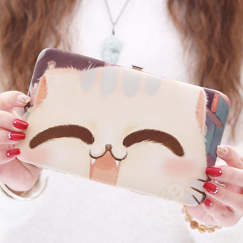 Women Cat Long Wallet Cute Character Anime  Evening Clutch Wallets Ladies Thin Simple Cartoon Wallet Phone Purse cartera mujer генераторы