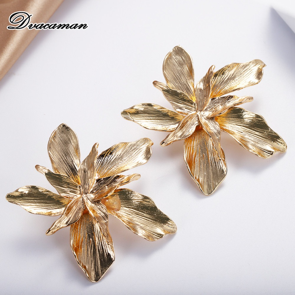 Dvacaman Drop-Earrings Jewelry Big-Flower Wedding Gold-Color Za-Designs Party Fashion