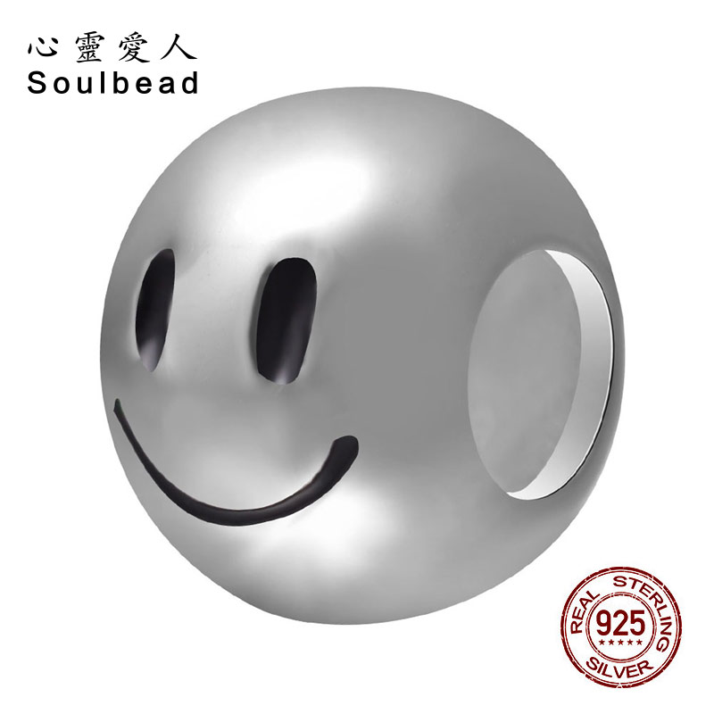 Soulbead 925 Sterling Silver Charm Jewelry Smile Beads Fit Pandora Charms Bracelets Fashion Delicate Bracelets Beads SS0269