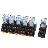 6 Pcs AC 110V/120V Coil 4PDT 35mm DIN Rail Electromagnetic Power Relay + Socket Free Shipping