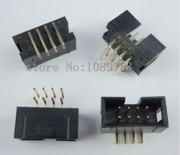 цена на 50 pcs 8 Pins 2x4 Box Header Connector IDC Male Sockets Right Angle 2.54mm