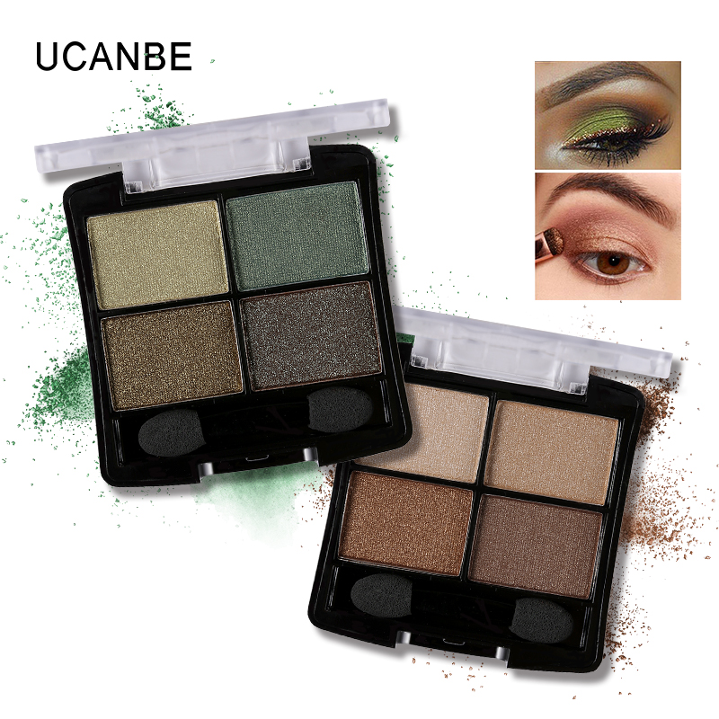 Fashion 4 colors glitter eyeshadow naked palette natural brand cosmetic makeup smokey make up shining font