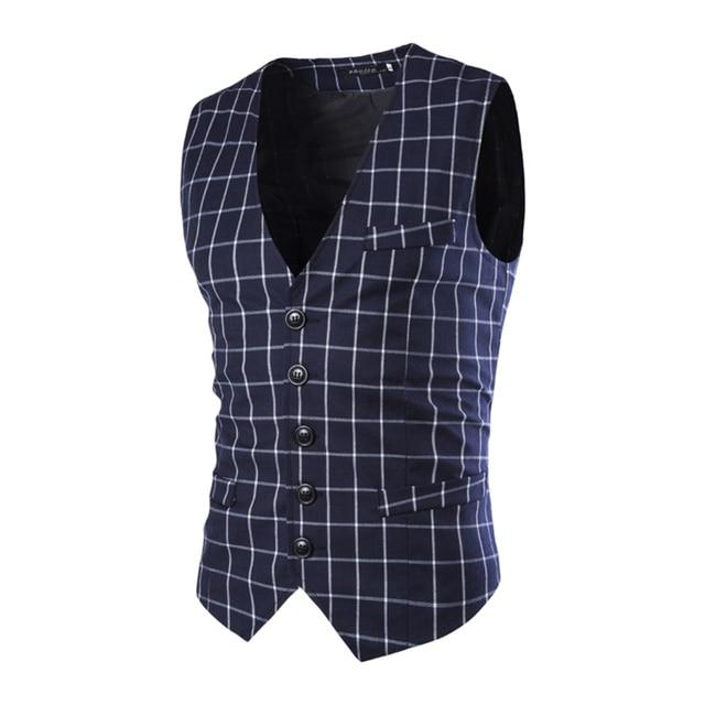 Hot Sale Fashion Slim Fit Thin Grid Plaid Men Waistcoat Tops Spring Autumn New Man Suit Vest Hot Sale Quality Suit Vest Male