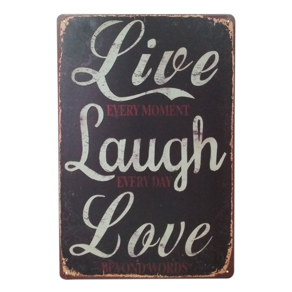 Live laugh love retro style iron sign painting decorative for Plaque murale decorative metal
