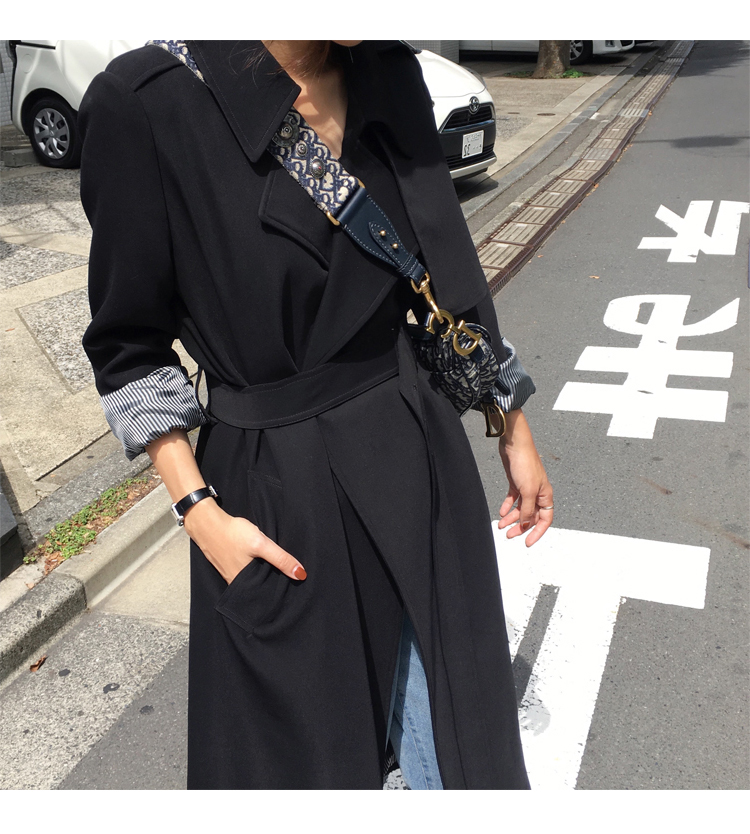 Spring Autumn Maxi Long Women's Loose Trench Coat With Belt Khaki & Black Plus Size Korean Style Windbreaker Outwear 6