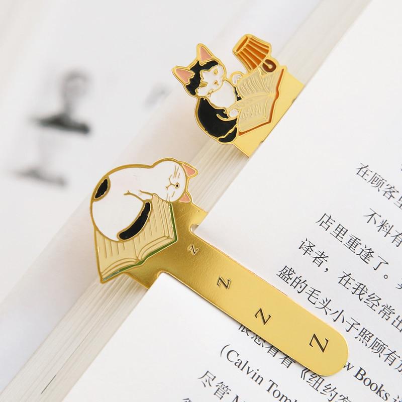 4 pcs/Lot Pottering cat Metal book mark for reading Vintage bookmarks Stationery Office School supplies marcador de livros 6130