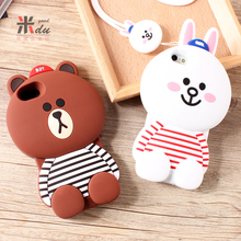Case for iPhone6s shell  back cover for apple 5SE mobile cell phone with lanyard silicone cute cartoon housing bags for 7plus
