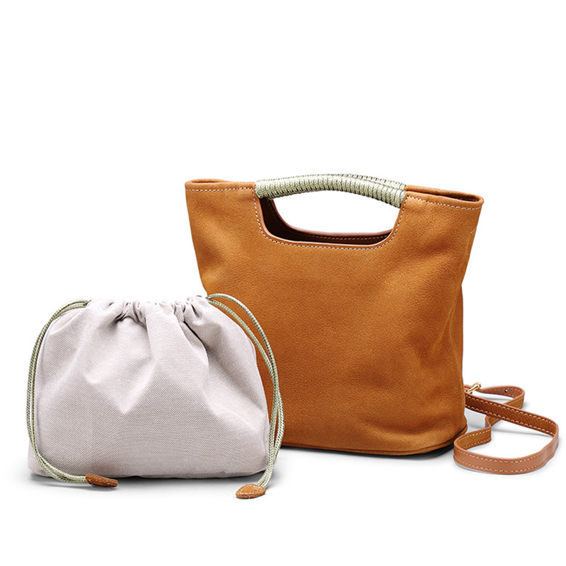 Yeesupsei Genuine Leather Bucket Bag Luxury Handbag Hard Handle Crossbody Bag Small Messenger Bag