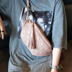 Fashion Tassel Waist Packs Genuine Leather Crossbody Bags For Women Chest Bag Luxury Handbags Women Bags Designer Ladies Purse