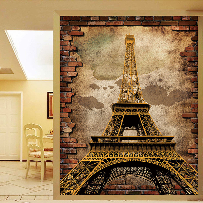 Custom Mural Wallpaper 3D Retro Entrance European Style Eiffel Tower Brick Wall Oil Painting Fresco Living Room Papel De Parede