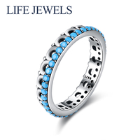 Authentic100% 925 Sterling Silver Turquoise Rings Charm l Women Luxury Sterling Silver Valentine's Day Gift Jewelry 18162