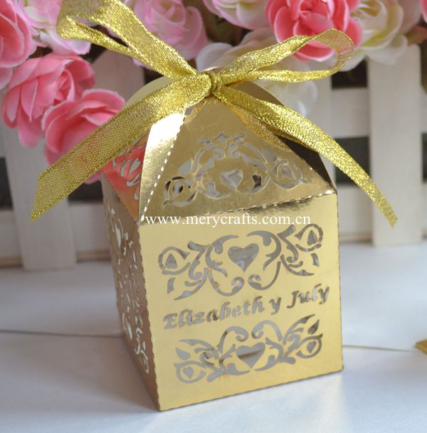 Laser Carving Customized Names Indian Wedding Favor Sweet Boxes