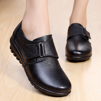 Genuine leather women flat shoes Comfortable 2019 Spring/Autumn Oxfords Hook Loop Ladies leather shoe Large size 35-43 spring autumn soft bottom genuine leather comfortable flats large size women shoes flat with lace casual shoes elderly shoes