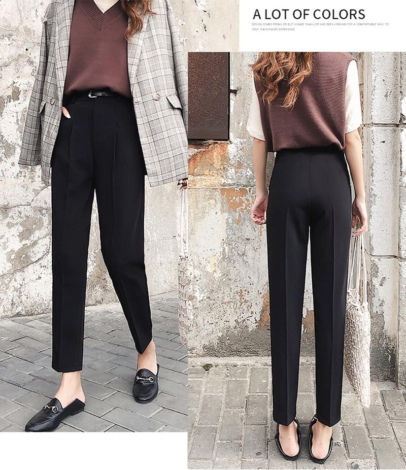 BGTEEVER OL Style White Women Pants Casual Sashes Pencil Pant High Waist Elegant Work Trousers Female Casual pantalon femme 18 12